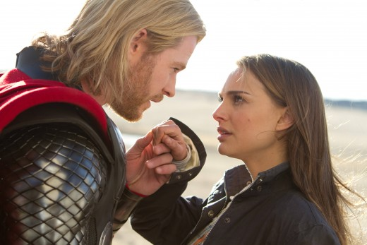 Chris Hemsworth is Thor, the mighty god of thunder and Natalie Portman is Jane Foster, his love interest.  The two return in Thor: The Dark World in theaters now