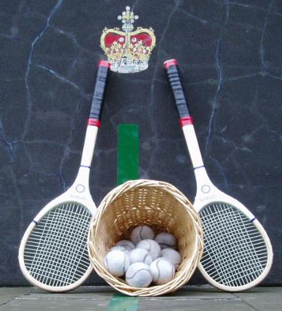 Real tennis racquets and balls. Photo taken on May 4, 2005, by Peter Cahusac at the Falkland Palace Royal Tennis Club