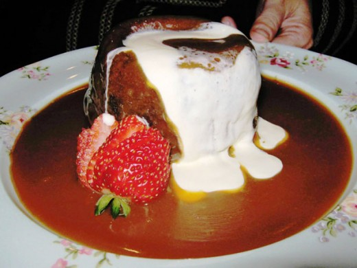 Date Pudding with a marshmellow and carmel sauce.