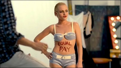 Sandra, who dreams of becoming a model, shows her support for Equal Pay.