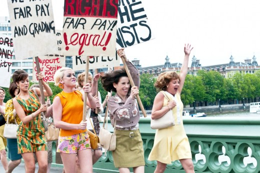 A still from the movie where the women go on protests for equal-pay.