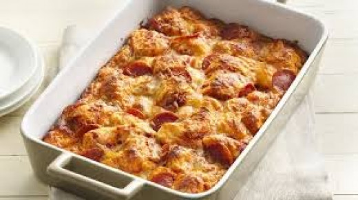 A double crust pizza can not taste any better unless it's made into a casserole. Yummy!