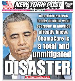 Actual Cover of the New York Post, Friday, 24 November 2013