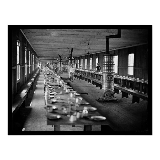 A mess hall - while this is a hospital mess hall, there are enough similarities between it and the mess halls in camps of instruction