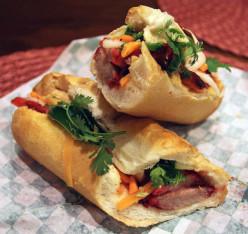 Pork Banh Mi Baguette Recipe with Caramelized Pork, Vegetables, Pickles