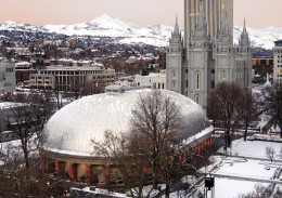 The historic Salt Lake Tabernacle, with the Salt Lake temple in the background.