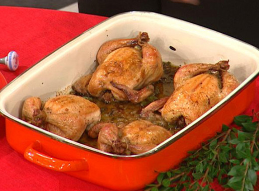 Cornish hen with chopped celery