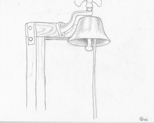 Log Cabin School Bell, pencil and ink