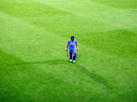 Sachin Tendulkar walking towards the pavilion after hitting the first double hundred in the history of One Day International Cricket.