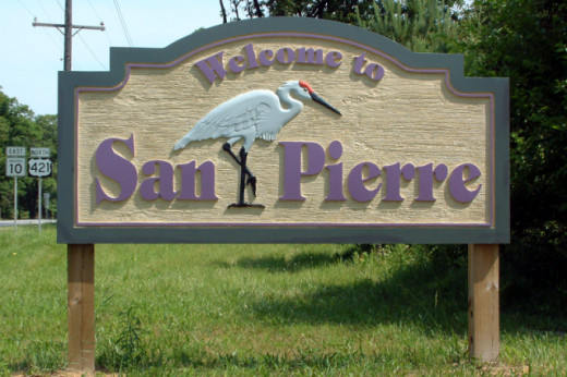 The nearby town of San Pierre has adopted the sandhill crane as its symbol
