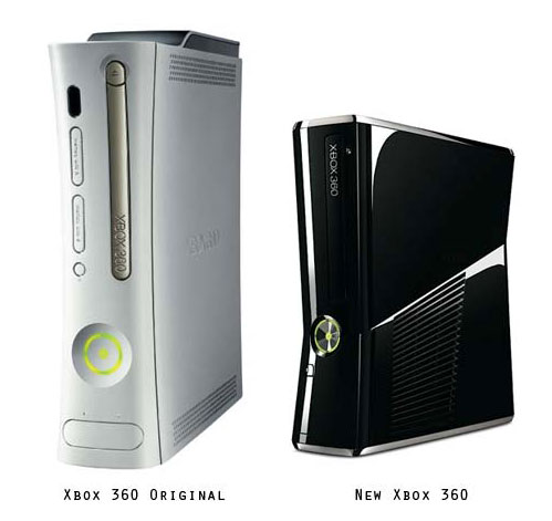 A side by side view of a launch Xbox 360, versus a newer model released later in the console's lifespan.