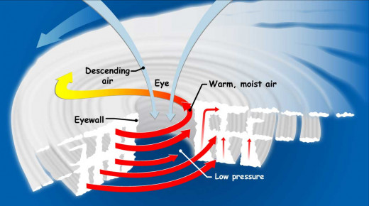 A diagram depicting the forces at work within a hurricane.