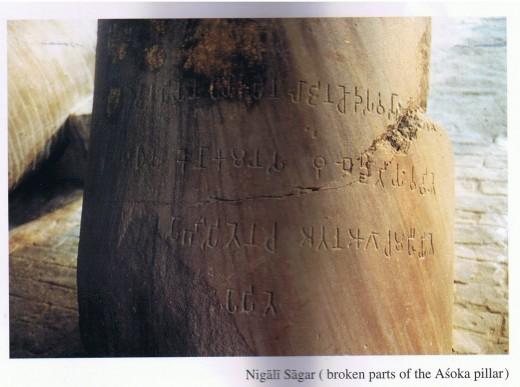 Inscriptions on the Nigali Sagar Pillar.