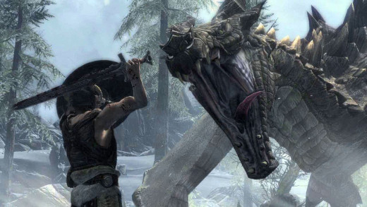 A common encounter in the world of Skyrim, one man (or woman) versus one dragon.