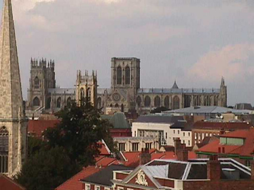 York's famous city roofline with the Minster - it is in fact a cathedral, the seat of the Archbishop of  York (signed as 'Ebor')