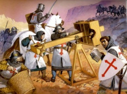 Wearing the red cross of the Crusader and attacking the Muslim conquerors.