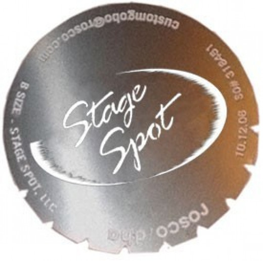 A custom steel gobo showing Stage Spot's logo.