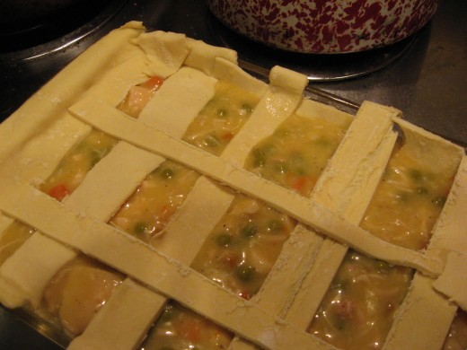 Add strips of pastry to top and bake.