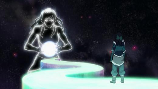Korra meeting her inner spirit and finding her inner energy.