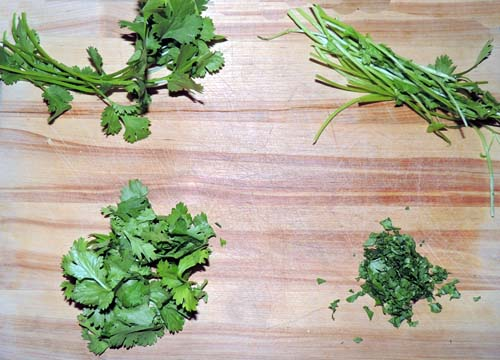 prep your add-ins: left to right, top to bottom--cilantro prep