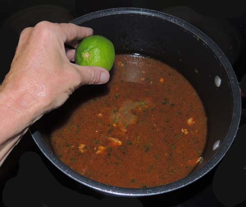 remove from heat, and finish with lime