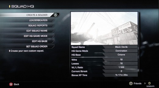 Here in the Squad HQ you can select your squad name, map and mode, and even see some of your stats.