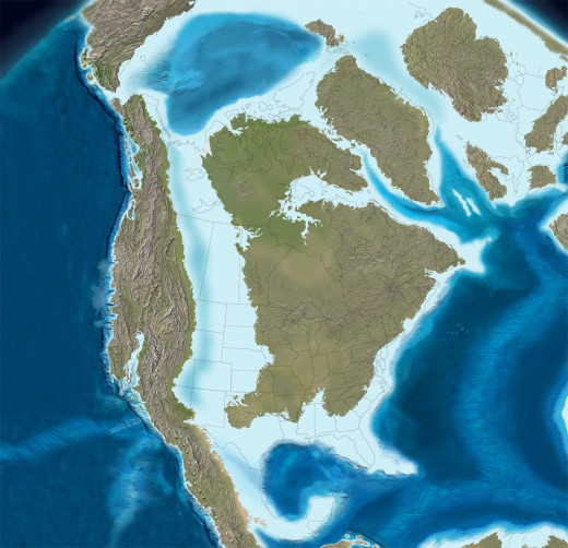 "North America during the late Cretaceous; its two major landmasses are called ""Laramidia"" and 'Appalachia."""
