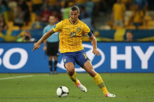 Zlatan Ibrahimovic playing for Sweden