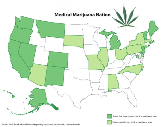 Fifteen states have Medical Marijuana laws, with many others considering them. Medical marijuana is a term that refers to the therapeutic use of marijuana most often associated with glaucoma, cancer and chronic or severe pains.