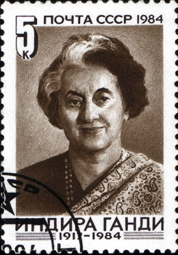 A postage stamp by Soviet Union commemorating Indira Gandhi.