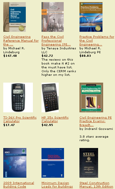 The best PE exam calculators and the top rated and current PE exam review books are compiled and for sale on this Amazon page.