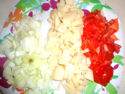 Chopped onions,potatoes and tomatoes