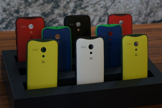 The different colored back covers of the Moto G