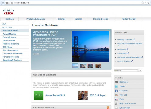 The Cisco home page for investor relations.