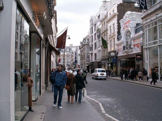 Walking along New Bond Street in England.
