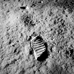 Boot print of Apollo 11 astronaut Buz Aldrin.