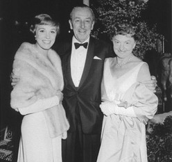 "Julie Andrews, Walt Disney, and P.L. Travers at the Hollywood premiere of ""Mary Poppins,"" in 1964."