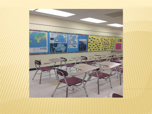 A pale yellow wall color allows teachers to display a variety of colors without too much of a contrast.