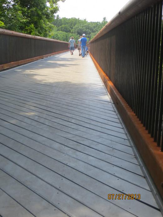 The refurbished walkway - railroad bridge.