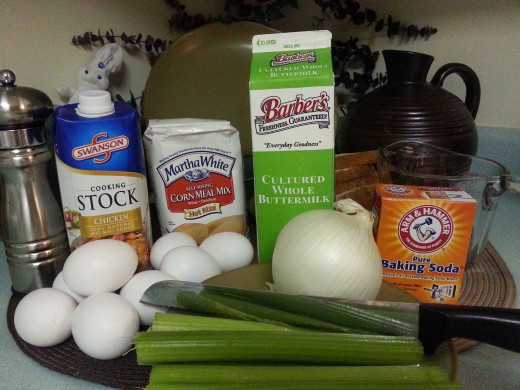 Ingredients for making Traditional Southern Cornbread Dressing.  There are six pieces of loaf bread there in the back to the right of the buttermilk.