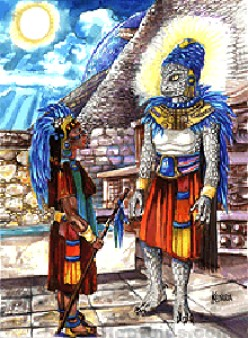 The human-like Quetzalcoatl (at right)