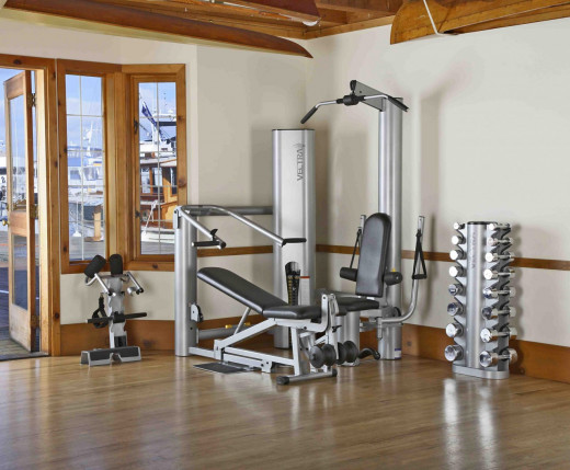 ultra sleek fitness equipment by Vectra combined with wood flooring and a view of a harbor make this fitness room beyond storybook