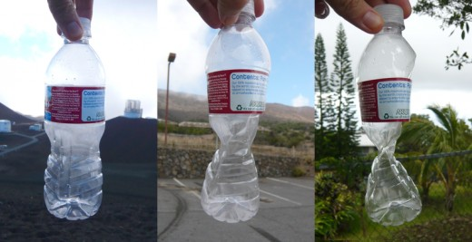 This bottle was sealed at 14,000 ft., then taken down to 9,000 ft., and then taken down to 1,000 ft. Notice how crushed the bottle looks at 1,000 feet (far right)— that's because there is more pressure on the bottle at 1,000 feet than at 14,000 ft.
