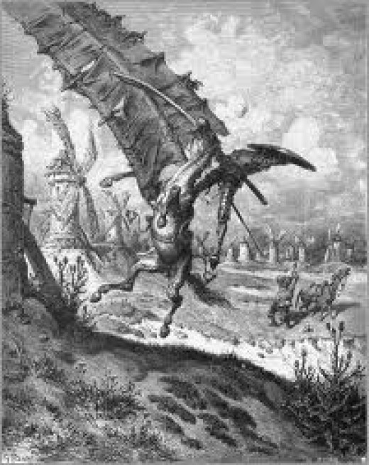Don Quixote, the first hero of prose, tilting at a windmill.