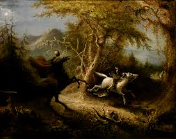 Ichabod crane being chased by the Hessian- a scene from The Legend of Sleepy Hollow