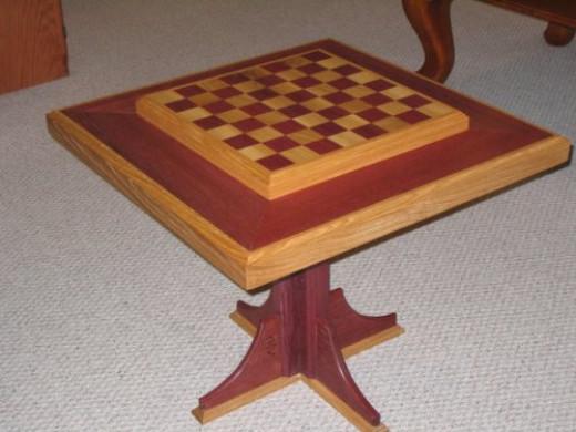 Purpleheart wood and White Oak Chess Table