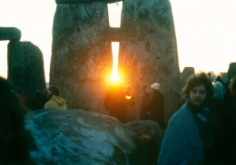 Sunrise between the stones at Stonehenge on the Winter Solstice in the mid 1980s