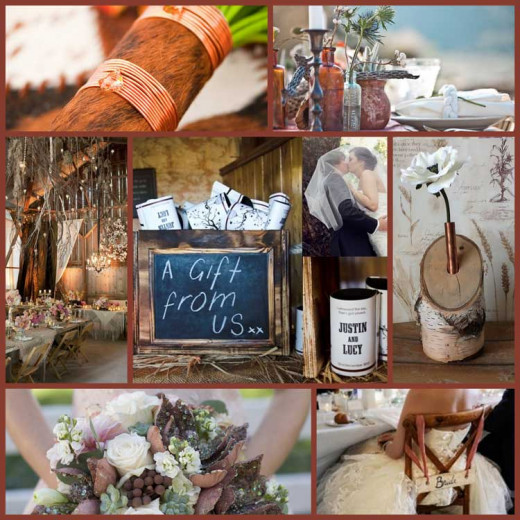 A gorgeous blend of copper, brown and beige making the perfect wedding color palette for a modern setting!