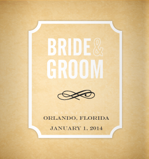 Parchment style koozie design for your wedding.