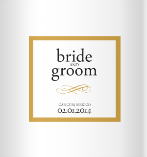 Simple brown on white design for your wedding koozies!